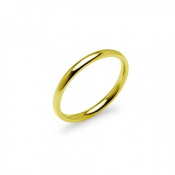 Yellow Gold Tone High Polish 2mm Plain Comfort Fit Wedding Band Ring Stainless Steel Many Sizes Available - CL17Z2DO6QA