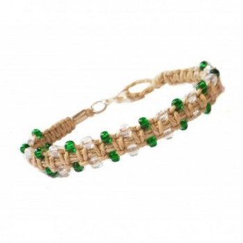 Gorgeous Green Glass Beaded Hemp Bracelet or Hemp Anklet to Choose From - Handmade - C0123HCPAF3