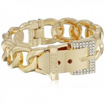 GUESS Womens Buckle Hinge Frozen Chain Bracelet w/ Pave Accent - Gold - CT11J6D1KPD
