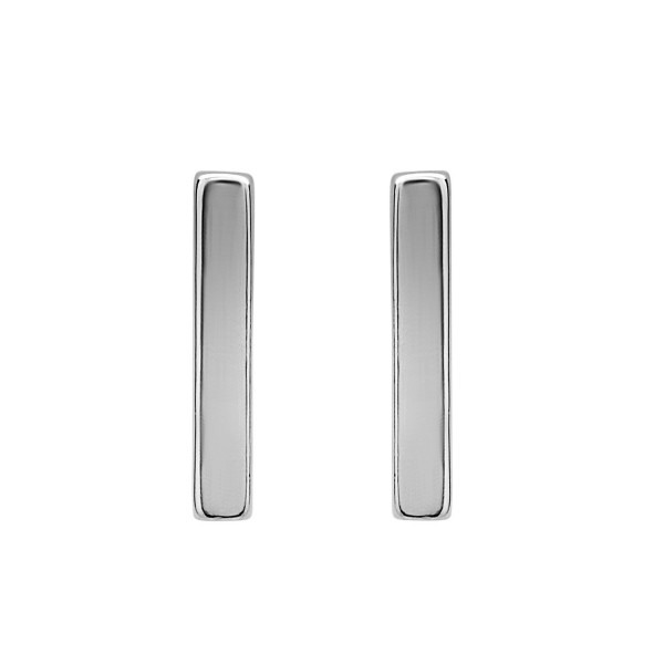 Beaux Bijoux 925 Sterling Silver Gold/ Rose Gold Plated Vertical Bar Stud Earrings - Silver - CY122TEA447