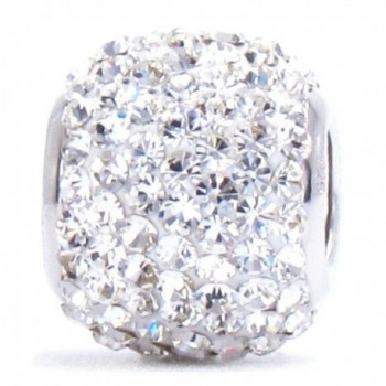 Bella Fascini Bead Charm Solid 925 Sterling Silver Fits Compatible Bracelets and Bangles (Clear White) - C211QPQORF9