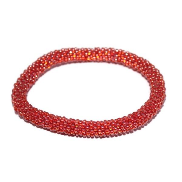 Crochet Glass Seed Bead Bracelet Roll on Bracelet Nepal Bracelet SB466 - C21290VZLRD