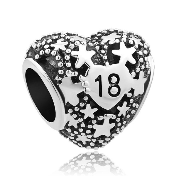 LovelyJewelry 18th Birthday Charms Pentagram Heart Love Beads For Bracelet - CY12NBV0XYE