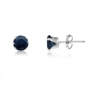 Round 4mm Genuine Blue Sapphire Stud Earrings (0.68 cttw) Sterling Silver- 14k Yellow or Rose Goldplate - CS11L2G17TV