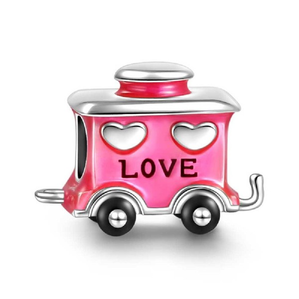 SOUFEEL Love Pink Railway Carriage Charm 925 Sterling Silver Christmas - CU12876B8IX