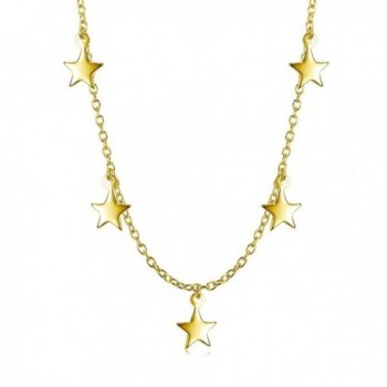Sterling Silver Dangling Stars Choker Necklace - CR182ZSUR69