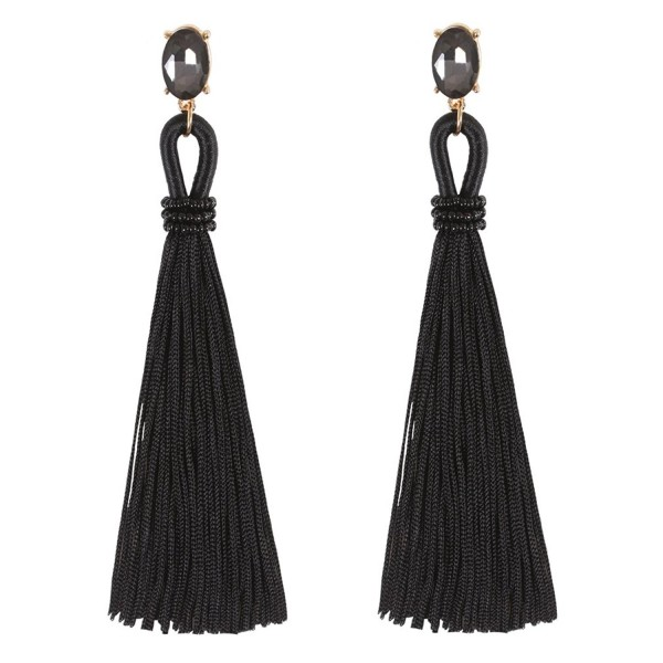 Boderier Tassel Earrings Bohemian Crystal - Black - CG186EAM98C
