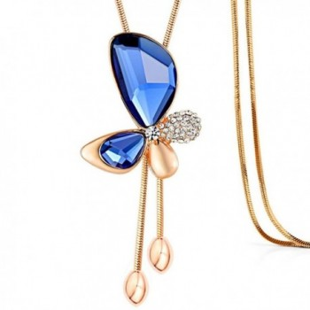 Blingbling Vivid Blue Crystal Butterfly Long Necklace for Women - CZ17YAN9E3S