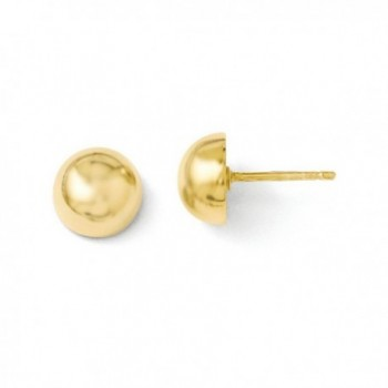 Sterling Silver 9.00mm 14k Gold-Plated Polished Button Earrings - C911FRSL6DH