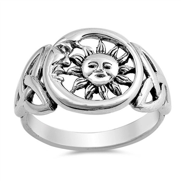Sun Moon Universe Cute Ring New .925 Sterling Silver Celtic Knot Band Sizes 5-10 - CH12HBSJA8R