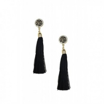 B Jewelry Collection Deco Rose Long Tassel Earrings- Black - C112EKK5K0R