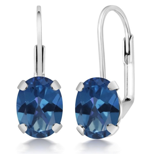 3.20 Ct Oval Shape Royal Blue Mystic Topaz Silver Plated Brass Lever Back Earrings - CQ11788KWYD