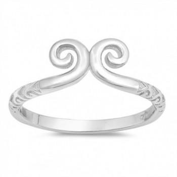 Swirl High Polish Fashion Statement Ring New 925 Sterling Silver Band Sizes 4-10 - CB12NVXLPA0