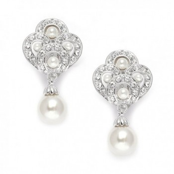 Mariell Vintage Art Deco Pearl Drop Clip On Earrings for Weddings - Nonpierced CZ Bridal Clip Ons - C41295PMY5L