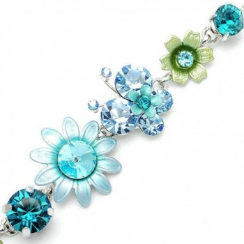 Glamorousky Flower and Butterfly Bracelet with Blue Austrian Element Crystals (1083) - CD118SOC2FD