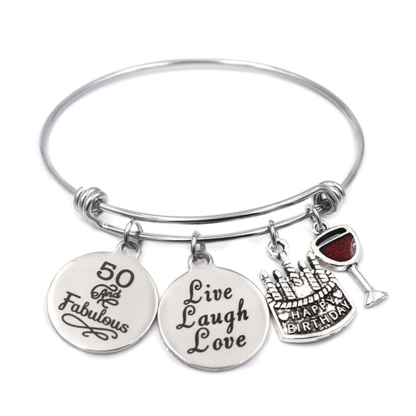 Birthday Gifts for Her Stainless Steel Expandable Bangle 13th Sweet 16 18th 21st 30th 40th 50th 60th - CY1856539S3