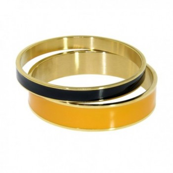 Women Gold Tone Stainless Steel Enamel Bangle Set - Orange & Black - CG12MXWK12P