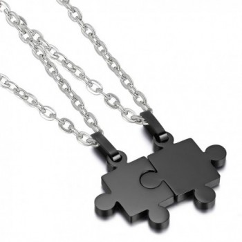 """Cupimatch 2 Pieces Stainless Steel Puzzle Matching Pendant Couple Necklace Set with 18"""" & 22"""" Chain - Black - CQ1850KYW7K"""