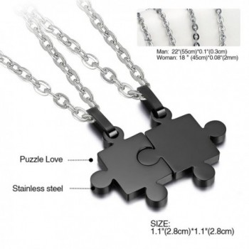 d4aa5b6c4e697 2 Pieces Stainless Steel Puzzle Matching Pendant Couple Necklace Set with  18