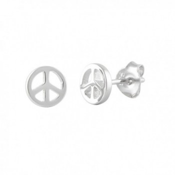 Sterling Silver Peace Sign Stud Earrings - 6MM Peace - CJ11GB7BC5Z