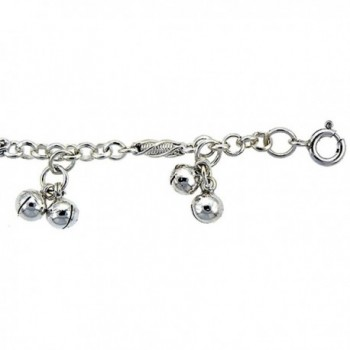Sterling Silver Anklet with Bells- fits 9 - 10 inch ankles - CE115PAA1B3