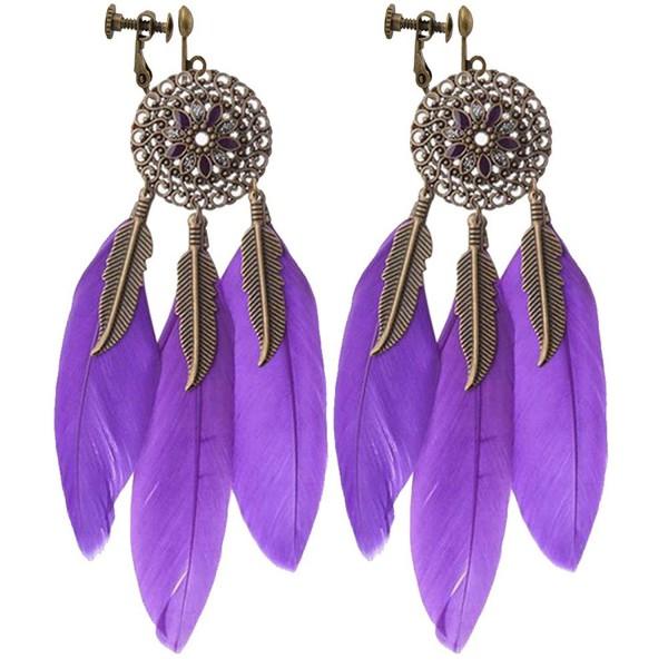 Vintage Hollow Round Flowers Dangle Clip on Earrings Long Leaf Feather Tassel for Girls Women (Purple) - CM186RKLTI6