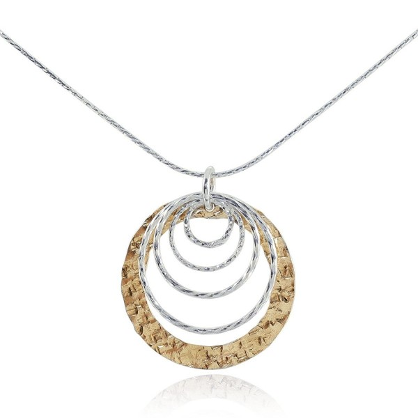 "Two Tone Graduated Circles Pendant 925 Sterling Silver & 14k Gold Filled Necklace- 18"" - CN128LM28OB"
