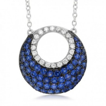 Sterling Silver with Blue and White Created Sapphire Pendant on 18 Inch Silver Chain - C21274EP6KF