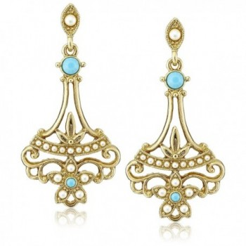 Downton Abbey Boxed Gold-Tone Simulated Pearl and Imitation Turquoise Drop Earrings - C21224WDBBN
