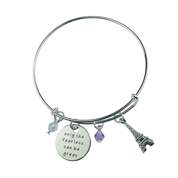 Art Attack Silvertone Only Fearless Can Be Great Paris Eiffel Tower Beaded Charm Expandable Bracelet - CN12IT2G40R