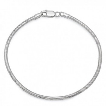 "925 Sterling Silver Nickel-Free 2mm Rounded Snake Chain 16""18""20""22""24""30"" - Made in Italy + Bonus Cloth - CL12JXAU55N"
