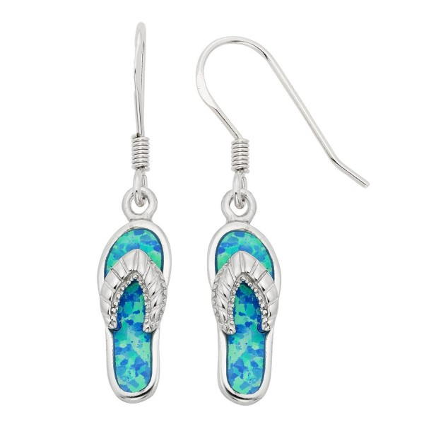Sterling Silver or Gold Tone Created Opal Flip-Flop Earrings - Blue Opal - CT118NROEO7