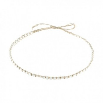Hemp Cord Macrame Choker Necklace with Cat's Eye (White) - C9189Q8ZLIT