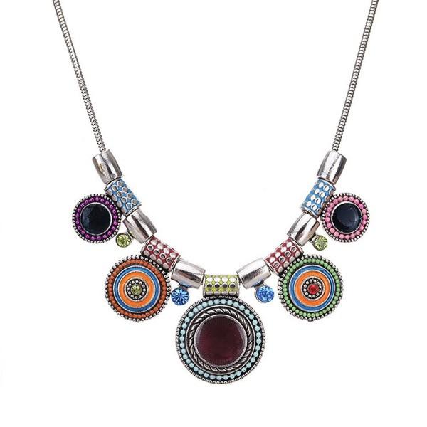 Boho Multicolor Round Pendants-Enamel Rhinestone Ethnic Choker Necklace For Women - Multi - C8189H7UHEO