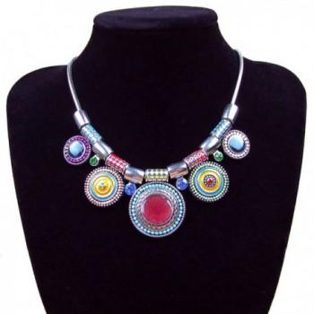 Multicolor Choker Pendants Rhinestone Necklace
