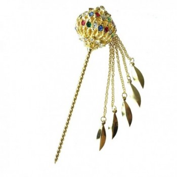 Siwalai Thai Traditional Gold Plated Multicolor Crystals Hair Pin 5 Inches - CE12MCB77QV