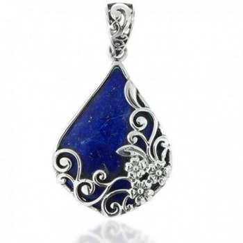 925 Oxidized Sterling Silver Decorative Gemstone Triangle Tear Drop Pendant - Blue - CH11LBFT00L