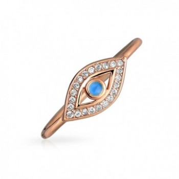 Thin Blue CZ Evil Eye Stacking Rose Gold Plated Silver Ring - CW11VOW5VWH