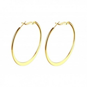 "18K Gold Polished Flattened Big Hoop Earrings with Omega Backs- thick 2mm round 2"" - CR1856CQ2LS"