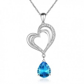 Yalong Heart Pendant Necklace Blue Aquamarine Crystal March Birthstone Jewelry for Women and Teen Girls - C7189KA09ER