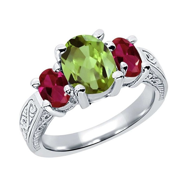 2.71 Ct Oval Green Peridot Red Created Ruby 925 Sterling Silver 3-Stone Ring (Available in size 5- 6- 7- 8- 9) - CV11GO4KMC9