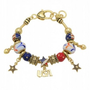 Rosemarie Collections Women's USA American Flag Glass Bead Charm Bracelet - Gold Tone - CB17YQ2IZH5