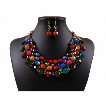 Lanue Multi Strand Beaded Bohemian Statement Necklace & Earrings Set Women Colorful Jewelry - Multicolor - CD183ITQES5