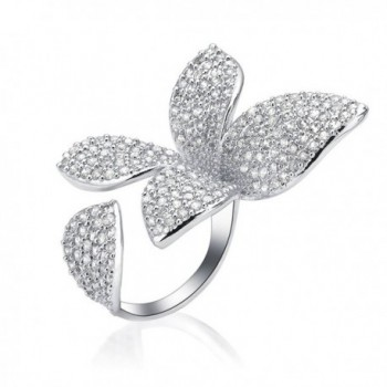 Dnswez Unique Large Flower Cubic Zirconia CZ Silver Open Cluster Cocktails Ring Adjustable Size 7\8 - CS12FI569I5