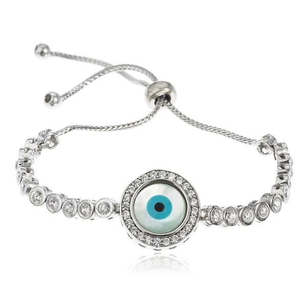Sterling Silver Bracelet Eye Bezel Cubic Zirconia Adjustable 4-8 Inch.. - C611S7GQ6EZ