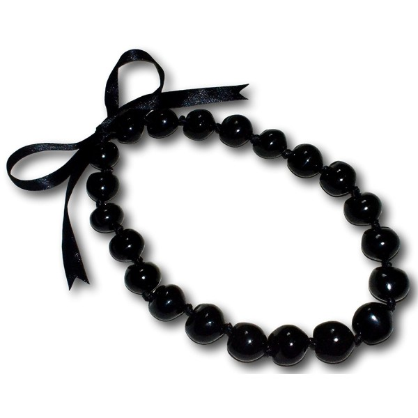 22'' Black Kukui NUT Necklace Lei Boho Chunky Lumbang Beads - CX112247NKJ