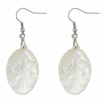 Oval White Leaf Drop Dangle Hook Earrings Adorned with Natural Pearl Shell Jewelry for Women - CV182Z3H5LM