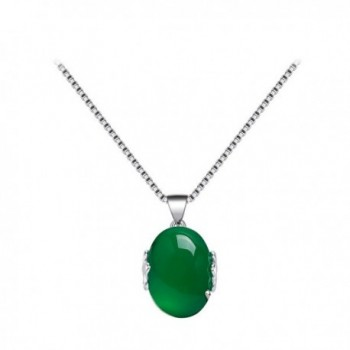 AUMRET Pure White Copper Ruby Chalcedony Woman Clavicle Necklace - Green - C6185U0CGUO