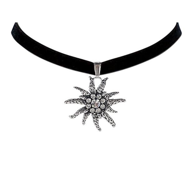 Bodai Black Velvet Choker Necklace with 4cm Czech Edelweiss Flower - CD12L8UCEXD