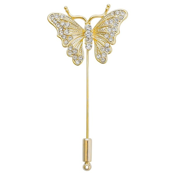 DMI Unique Jewelry Alloy Clear Crystal Butterfly Insect Lapel Suit Brooch Stick Pin - Gold - CZ183LE8K7L